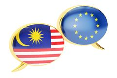 Speech bubbles, EU-Malaysia conversation concept. 3D rendering Royalty Free Stock Images
