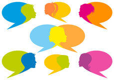 Speech bubbles with faces, vector Royalty Free Stock Photography