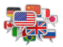 Speech bubbles with flags Stock Images