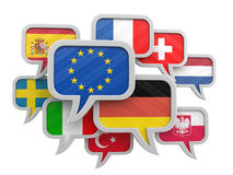 Speech bubbles with flags Royalty Free Stock Photography