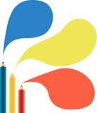 Speech bubbles Flat Design. Speech bubbles and Pencil Flat Design Stock Image