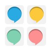 Speech bubbles flat icons. Four colors Speech bubbles flat icons set Stock Image