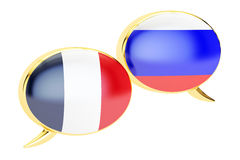 Speech bubbles, French-Russian conversation concept. 3D renderin Royalty Free Stock Images