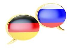 Speech bubbles, German-Russian  conversation concept, 3D renderi Stock Image