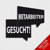 Speech Bubbles With German Words Employees Wanted - Isolated On Transparent Background stock illustration