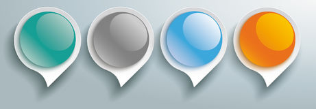 Speech Bubbles Glossy Buttons 4 Options Header Stock Images