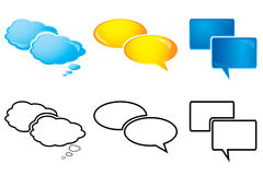 Speech Bubbles, glossy and outline Stock Image