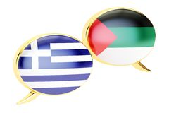 Speech bubbles, Greek-Arabian translation concept. 3D rendering Royalty Free Stock Images