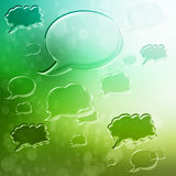 Speech Bubbles on Green Gradient Background Royalty Free Stock Photos