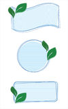Speech bubbles with green leaves. Three speech bubble with green leaves Stock Image