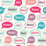 Speech bubbles with greetings seamless pattern Royalty Free Stock Photos