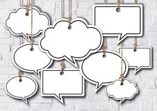 Speech Bubbles Hanging on Brick Wall Stock Photography