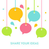 Speech Bubbles Hanging on Strings. Communication, Sharing Ideas, Speaking and Socializing Concept Stock Photography