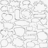 Speech bubbles with hearts and clouds Royalty Free Stock Photography