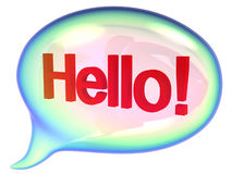 Speech bubbles with hello sign. On a white background Stock Photos