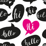 Speech bubbles with Hello word seamless pattern Royalty Free Stock Photography