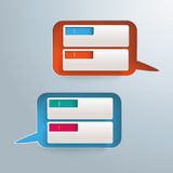 2 Speech Bubbles Holes Banners. Infographic design with speech bubbles holes on the gray background Stock Images