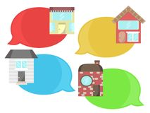 Speech Bubbles House Building Real Estate Icons Stock Photo