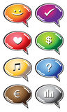 Speech bubbles with icons Royalty Free Stock Images