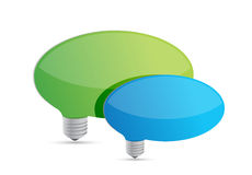 Speech bubbles idea lightbulbs Royalty Free Stock Photos