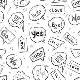 Speech bubbles with internet chat words hand drawn vector seamless pattern Stock Images