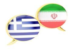 Speech bubbles, Iranian-Greek translation concept. 3D rendering Stock Image