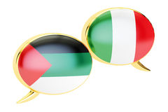 Speech bubbles, Italian-Arab translation concept. 3D rendering. Speech bubbles, Italian-Arab translation concept. 3D Stock Photos
