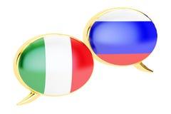 Speech Bubbles, Italian-Russian dialog concept, 3D rendering Stock Photo