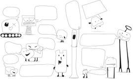 Speech bubbles with kawaii style cartoon monsters Stock Photo