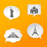 Speech bubbles with landmarks signs Stock Photo