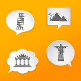 Speech bubbles with landmarks silhouettes Royalty Free Stock Photo