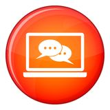 Speech bubbles on laptop screen icon, flat style Stock Photos