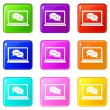 Speech bubbles on laptop screen icons 9 set Royalty Free Stock Images