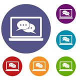 Speech bubbles on laptop screen icons set Royalty Free Stock Photos