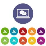 Speech bubbles on laptop screen set icons Royalty Free Stock Photography