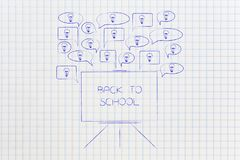 Speech bubbles with light bulbs popping out of a Back to School Stock Photos