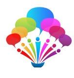 Speech bubbles logo. Business network speech bubbles logo Royalty Free Stock Photography