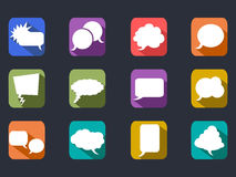 Speech bubbles long shadow flat icons Stock Image