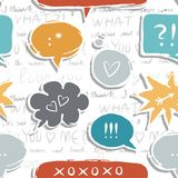 Speech bubbles with love signs on love text seamle. Colorful hand drawn speech bubbles with signs on white background with love text seamless pattern stock illustration