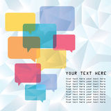 Speech bubbles with low poly design background Royalty Free Stock Photography