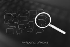 Speech bubbles with magnifying glass analysing them Stock Photography