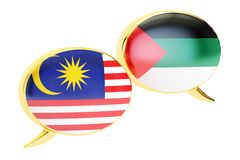 Speech bubbles, Malaysian-Arabian translation concept. 3D render. Speech bubbles, Malaysian-Arabian translation concept Stock Image