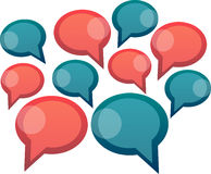 Speech bubbles. Many red and blue speech bubbles Stock Image