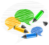 Speech bubbles & marker Royalty Free Stock Photo