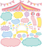 Speech bubbles and market place ornaments. Royalty Free Stock Images