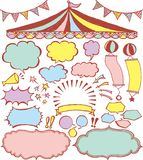 Speech bubbles and market place ornaments. Royalty Free Stock Image
