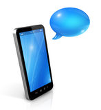Speech bubbles and mobile phone Stock Image