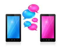 Speech bubbles and mobile phones Royalty Free Stock Photo