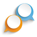 2 Speech Bubbles Orange Blue. Two speech bubbles on the white background Stock Photography