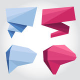 Speech bubbles origami. Blue and pink speech bubbles flat style Stock Images